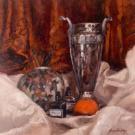Still Life with Silver urn and Satsuma